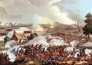 British army resisting a charge by the French cavalry, Battle of Waterloo, 1815, 19th-century aquatint, after a painting by William Heath..jpg